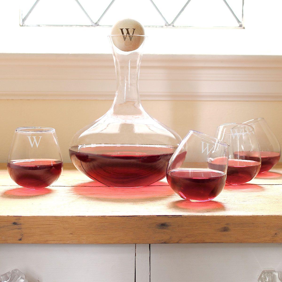 Custom Decanter & 4 Tipsy Wine Glasses Set