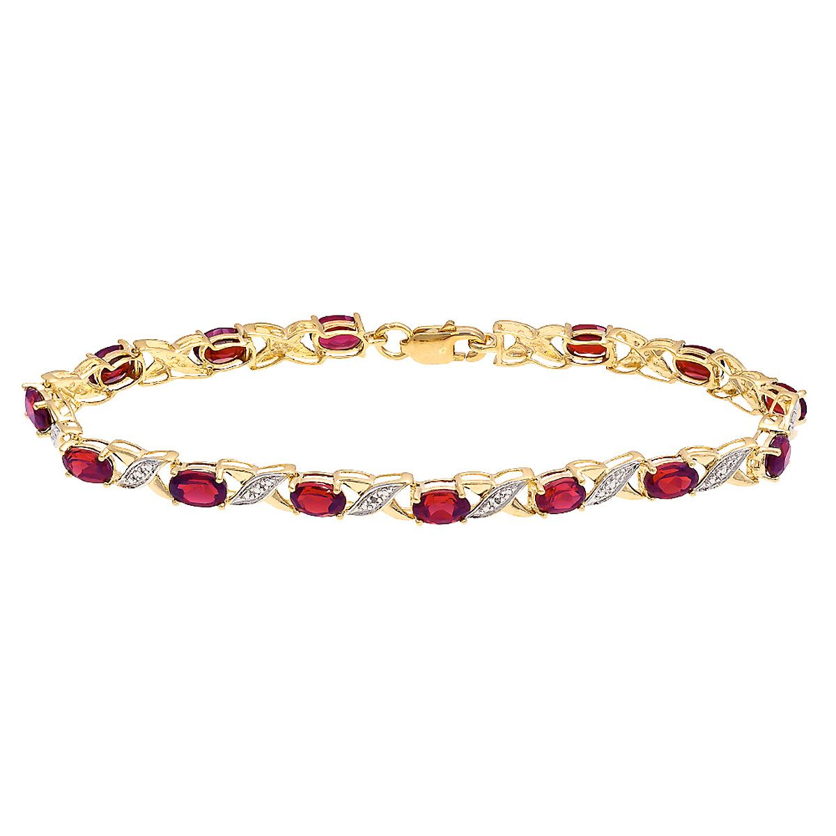 Diamond Accent and Oval Birthstone Bracelet