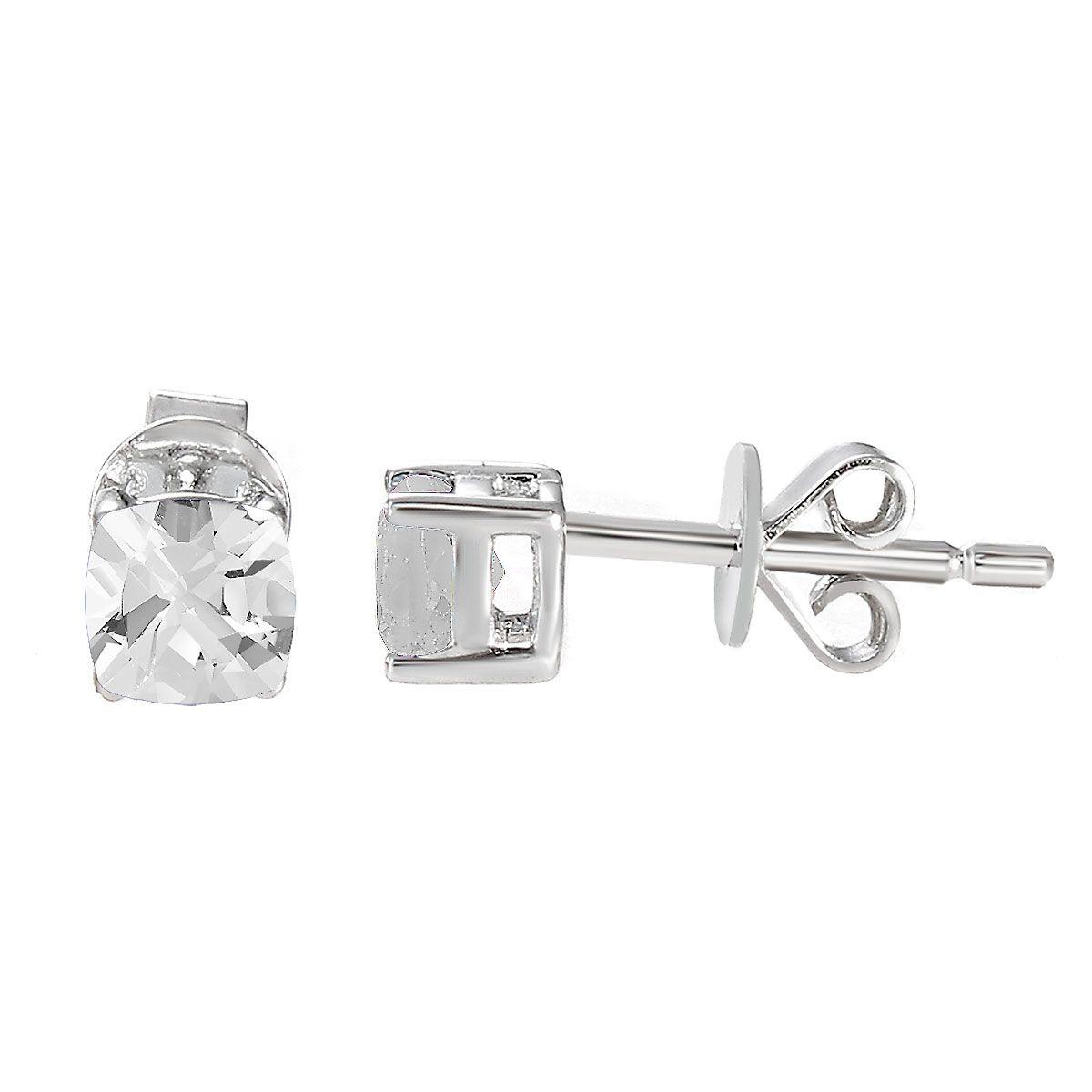 Sterling Silver Birthstone Cushion Stud Earrings