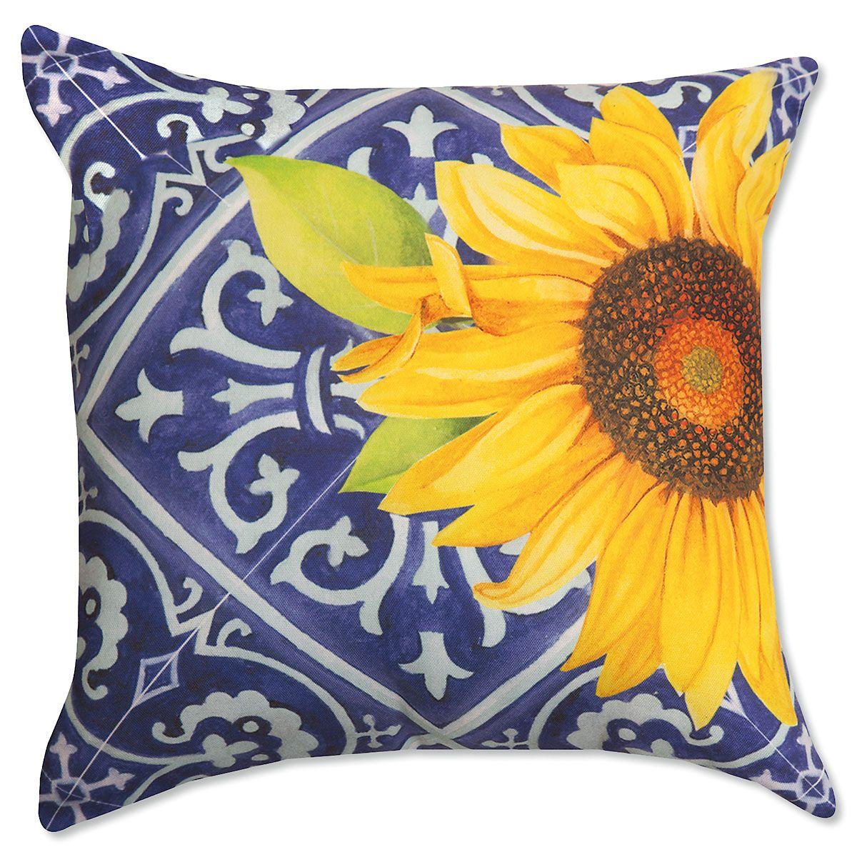 Indigo Sunflower Pillow