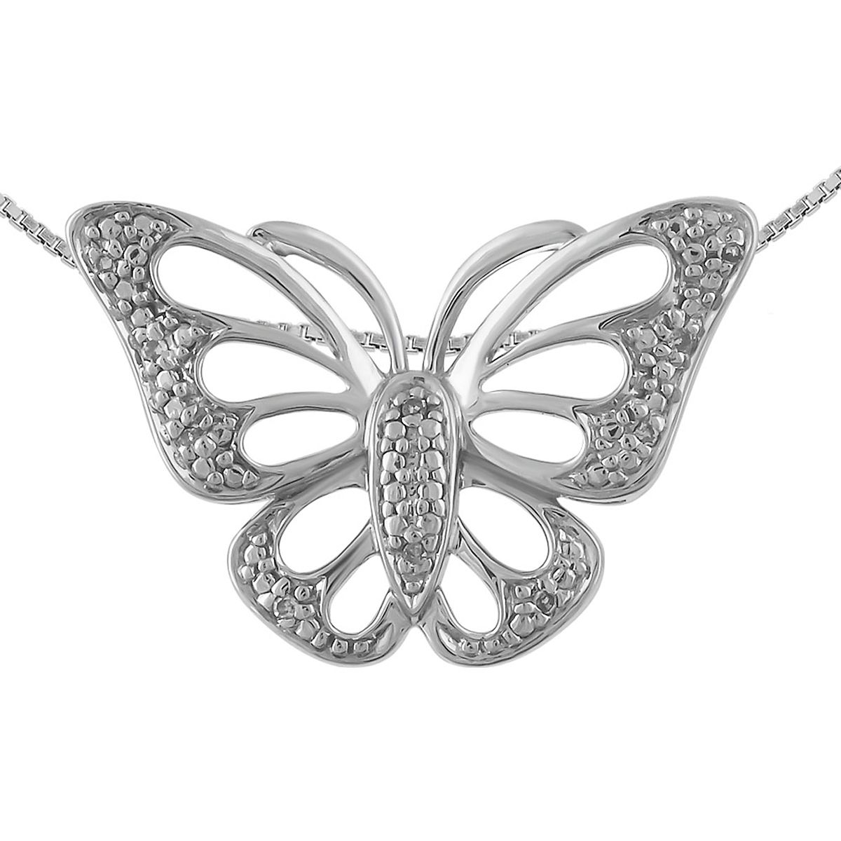 """Diamond Accent Butterfly Pendant with 18"""" Chain"""