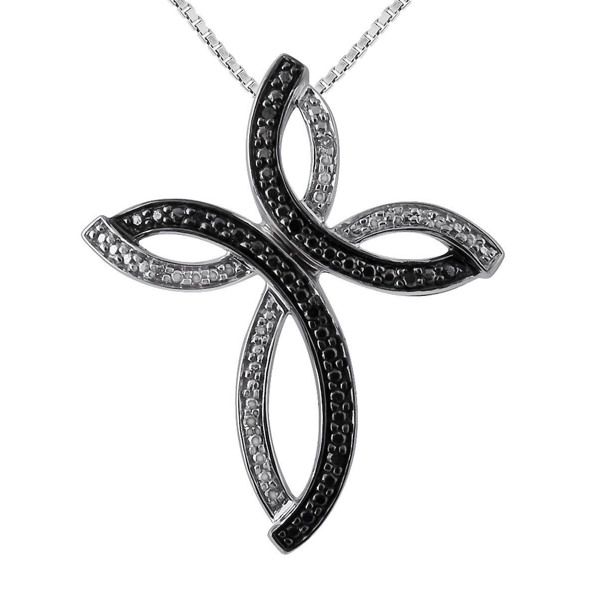 "Black and White Diamond Accent Cross Pendant with 18"" Chain"