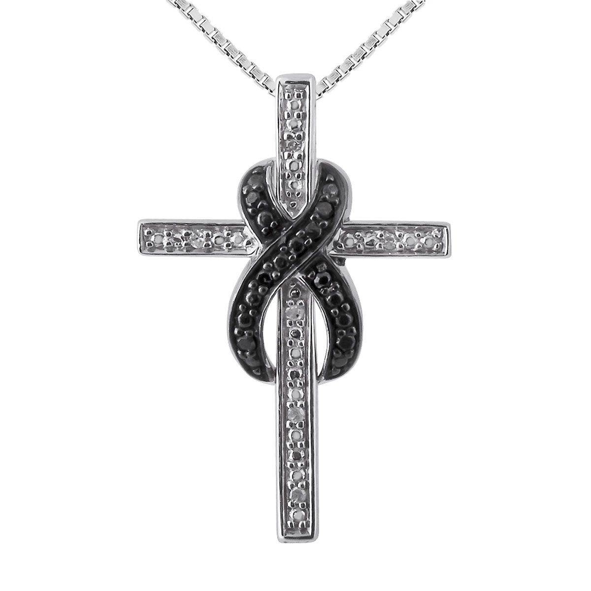 "Black and White Diamond Accent Infinity Cross Pendant with 18"" Chain"