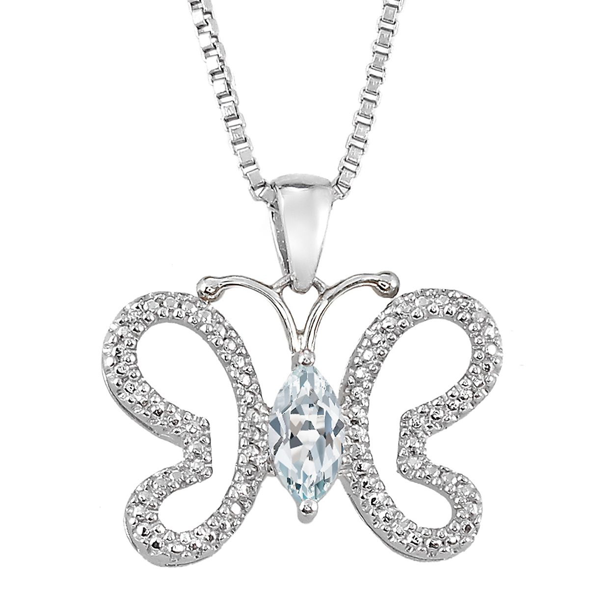 Diamond & Marquise Birthstone Butterfly Pendant