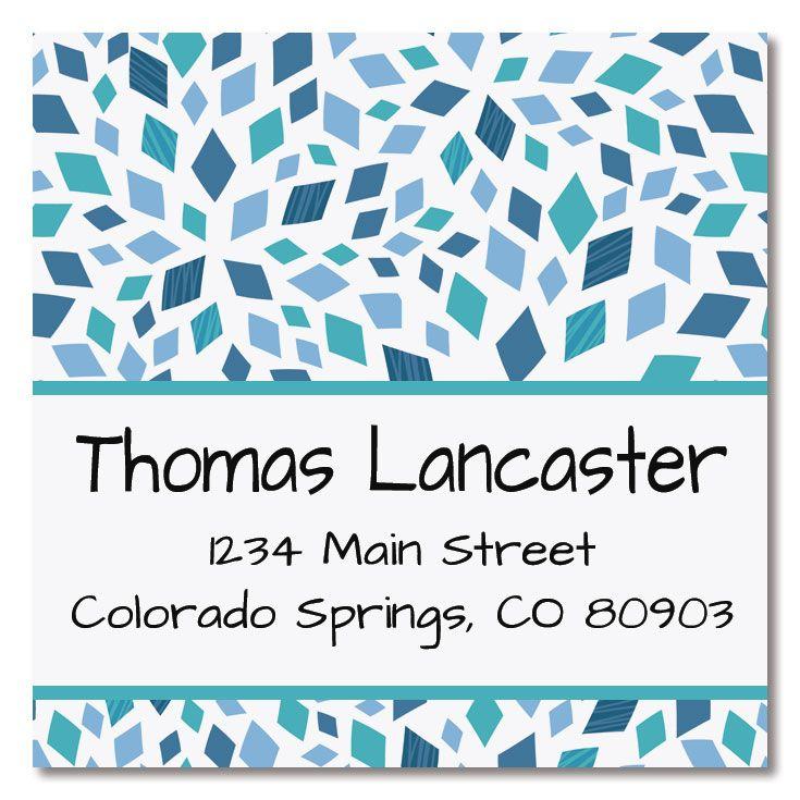 Mosaic Blue Square Label
