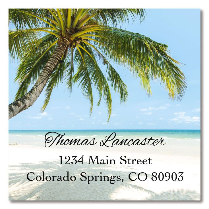Tropical Large Square Return Address Label
