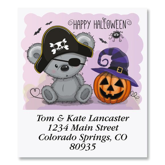 Adorable Halloween Bear Select Return Address Labels