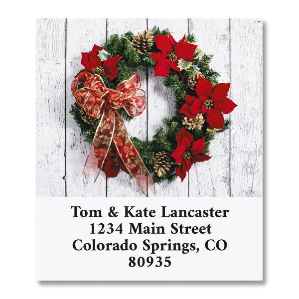 Poinsettia Wreath Select Return Address Labels