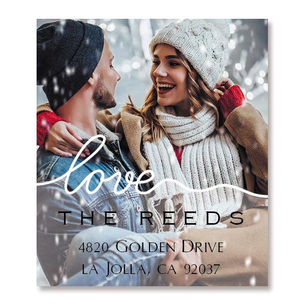 Love White Caption Select Photo Return Address Label