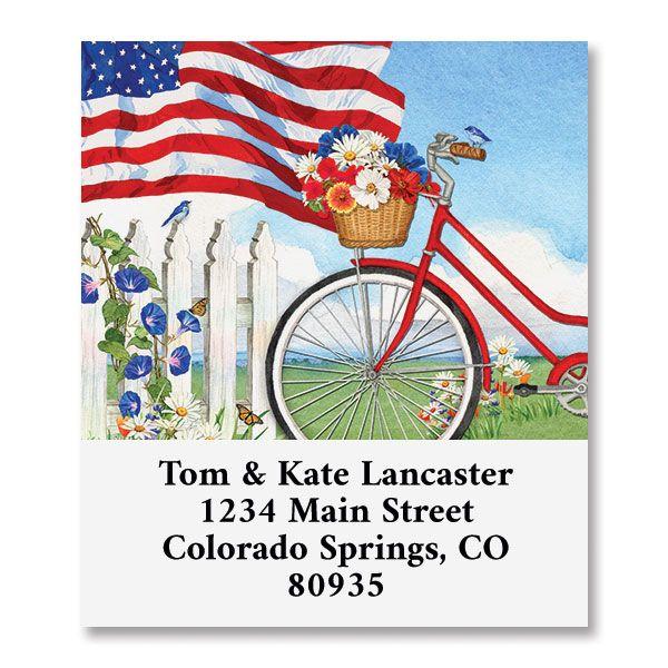 Patriotic Bicycle Select Return Address Labels