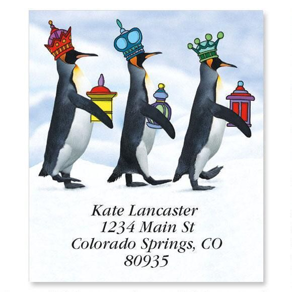 We Three Penguins Holiday Select Address Labels