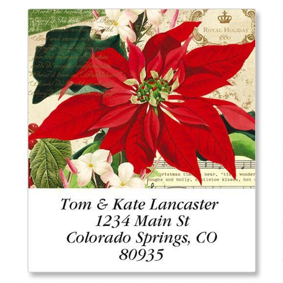 Winter Joy Poinsettia Select Return Address Labels