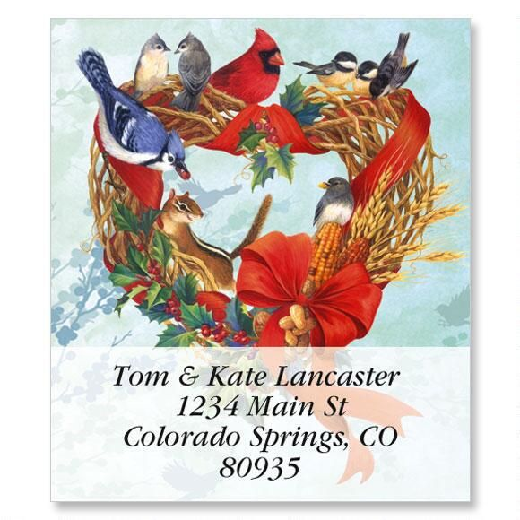Birdland Wreath Select Return Address Labels
