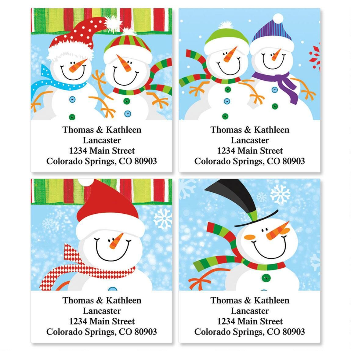 Happy Snowman Select Return Address Labels  (4 Designs)