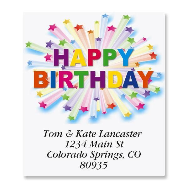 Birthday Star Select Return Address Labels