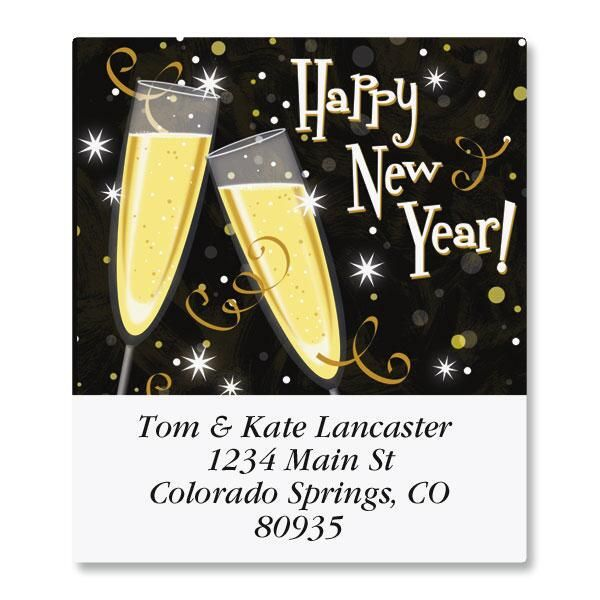New Year Toast Select Return Address Labels