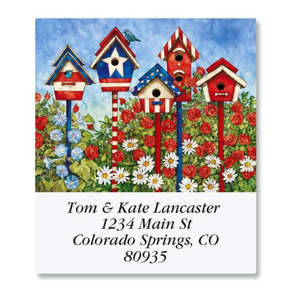 Patriotic Birdhouses Select Return Address Labels