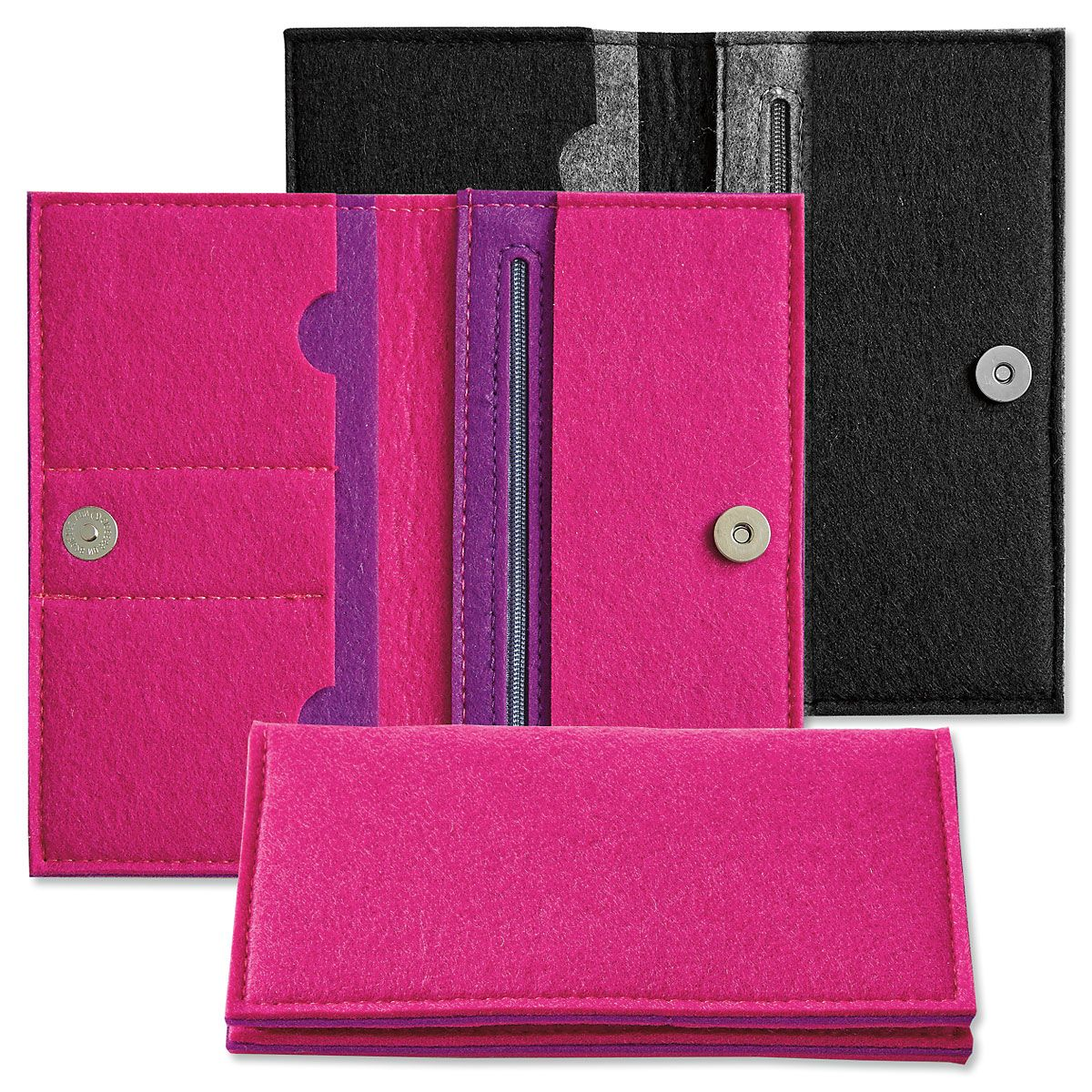 Felt Wallets with Checkbook Pocket
