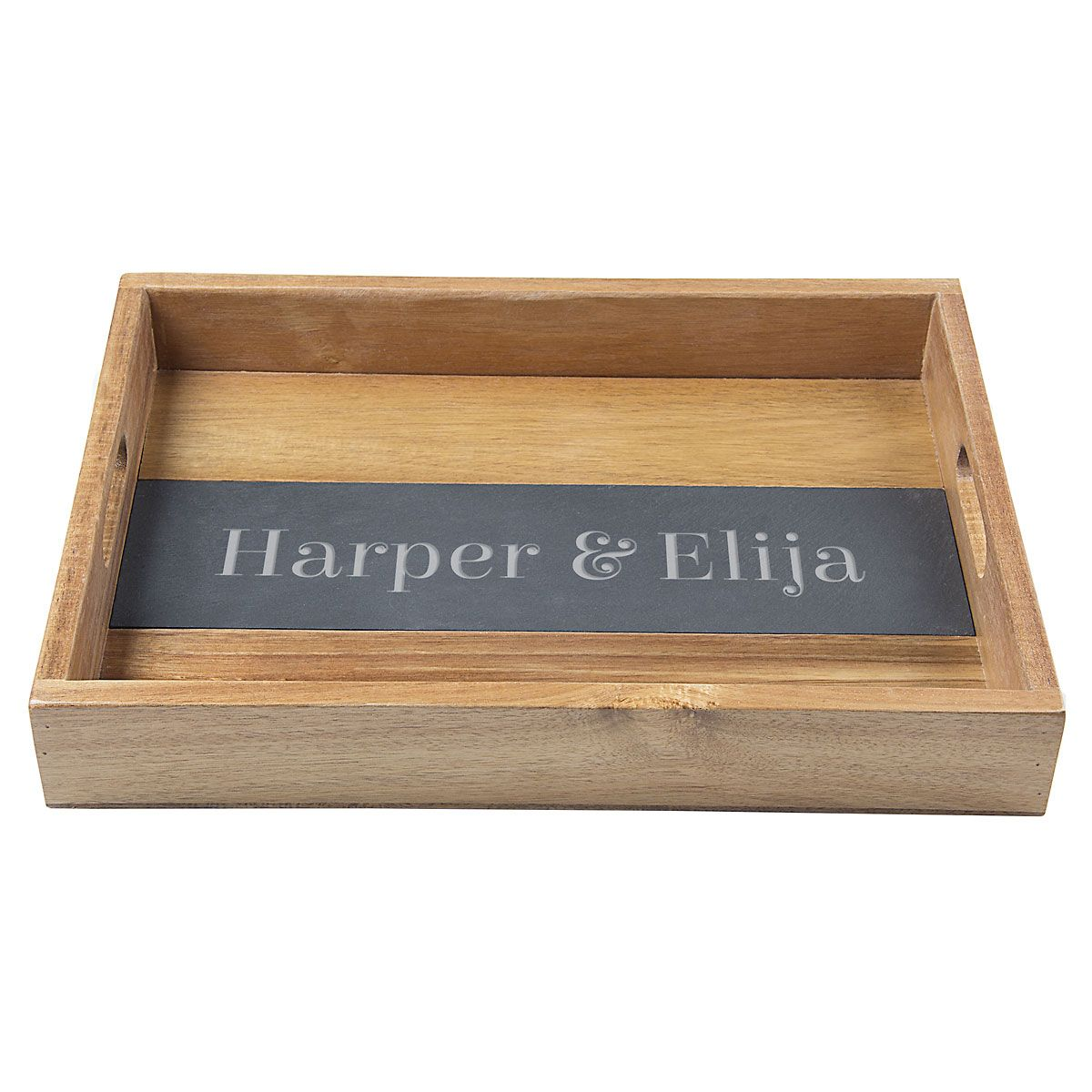 Personalized Acacia and Slate Serving Tray