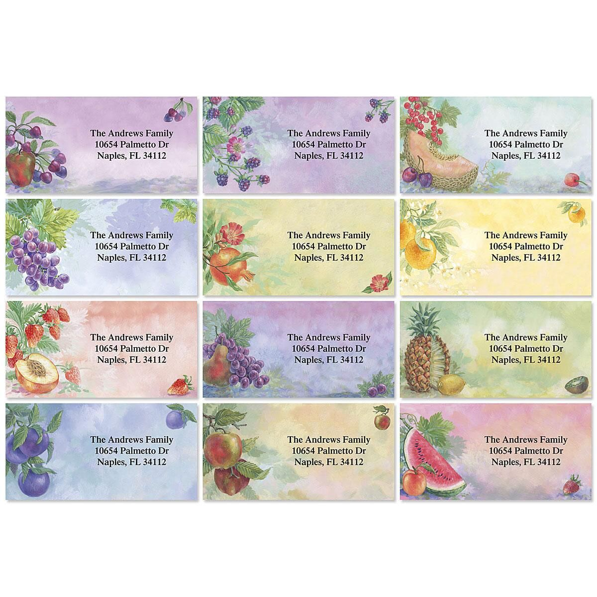 Fruit Impressions Border Address Labels  (12 Designs)