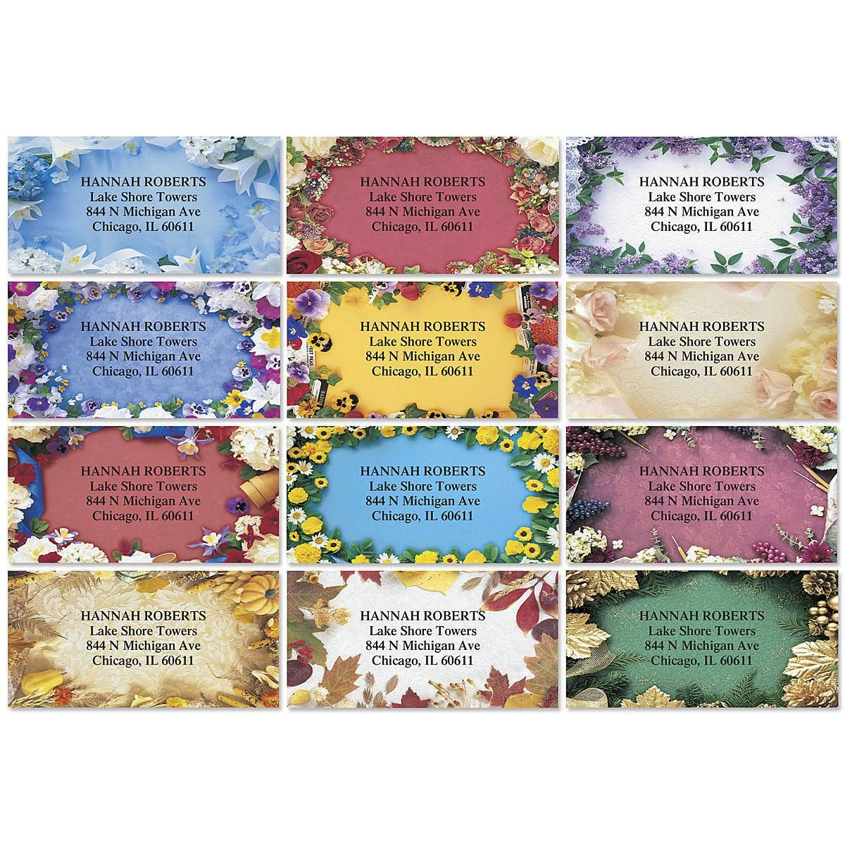 Floral Collage Border Return Address Labels  (12 Designs)