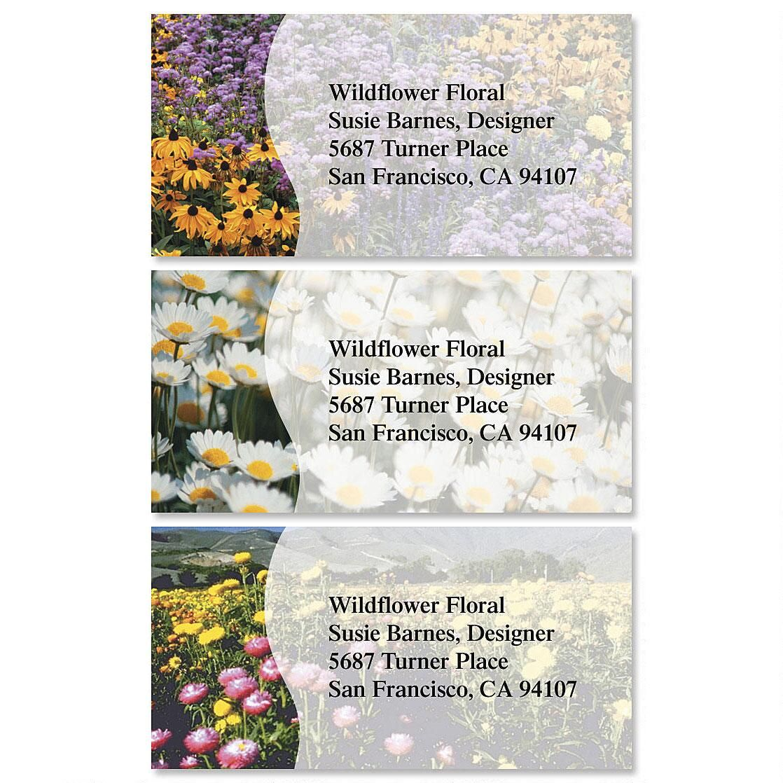 Field of Flowers Border Return Address Labels  (3 Designs)