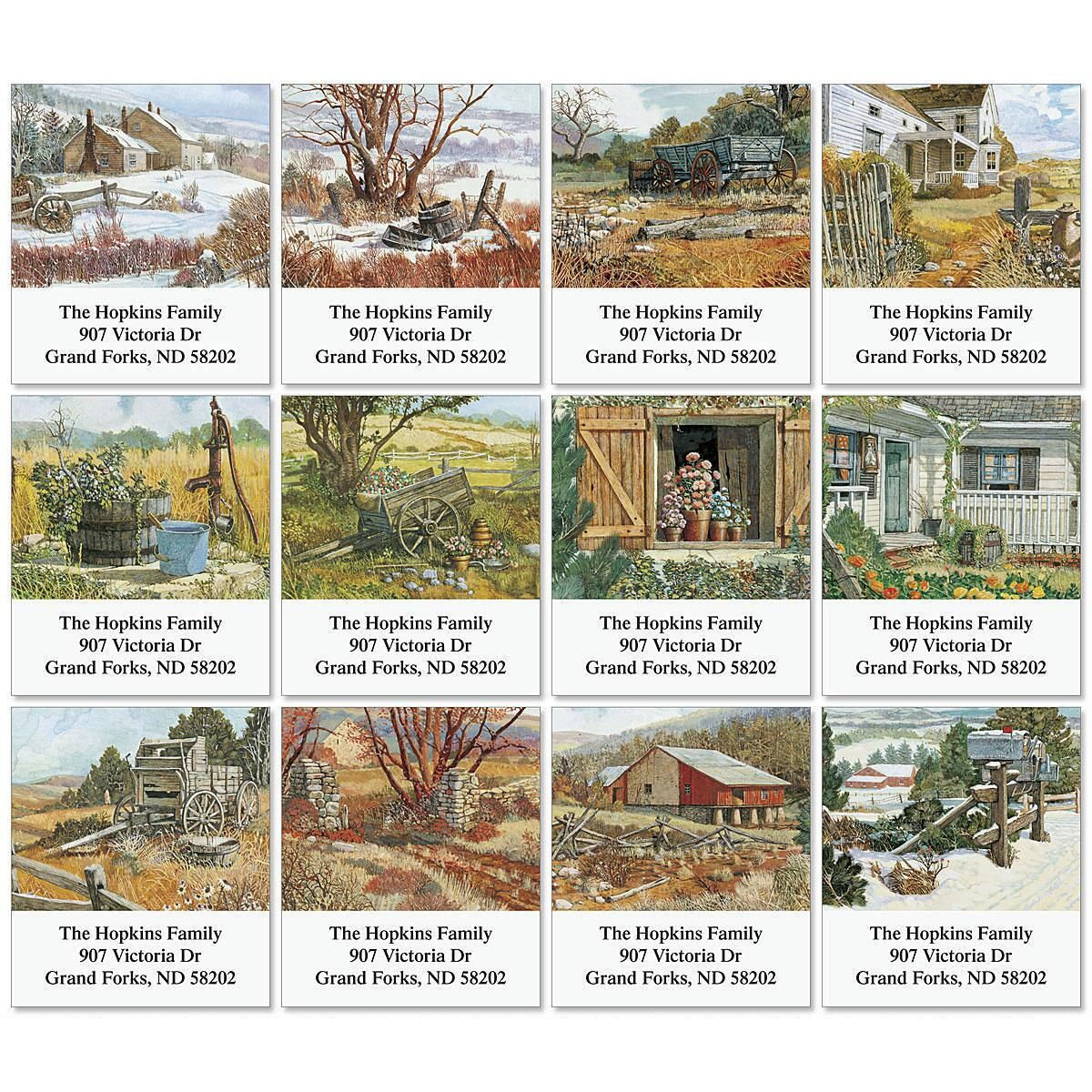 Country Image Select Address Labels  (12 Designs)