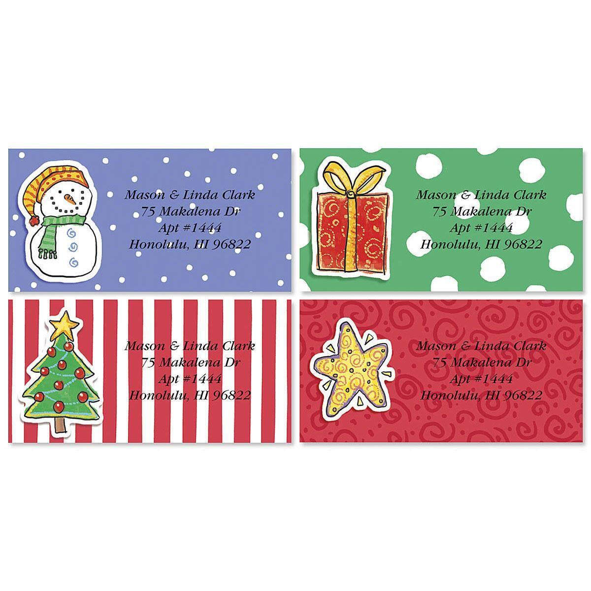 Holiday Doo Dads  Border Return Address Labels  (4 Designs)