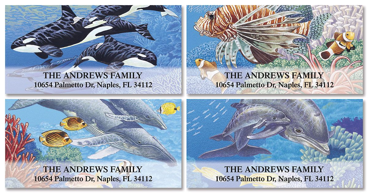 Sea Life Deluxe Return Address Labels  (4 Designs)