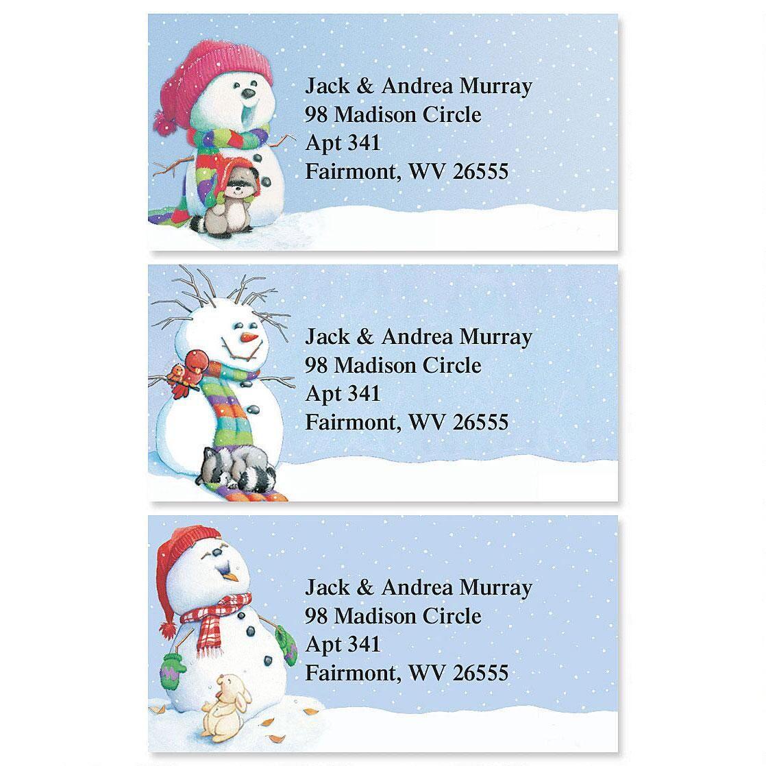 Snowman Delights Border Return Address Labels  (3 Designs)
