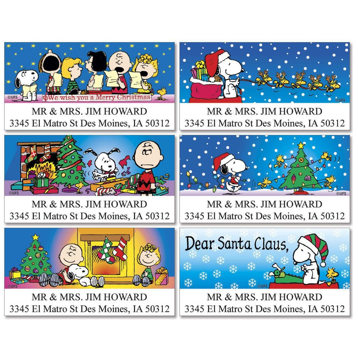 PEANUTS® Christmas Fun Deluxe Address Labels  (6 Designs)