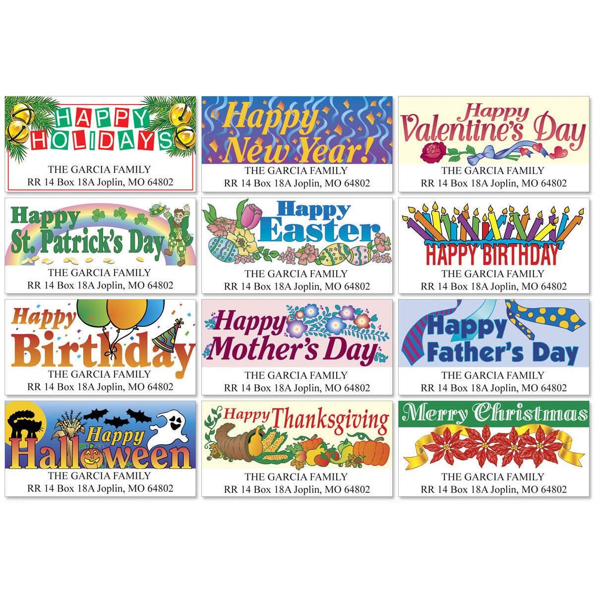 Year-Round Holidays Deluxe Return Address Labels  (12 Designs)