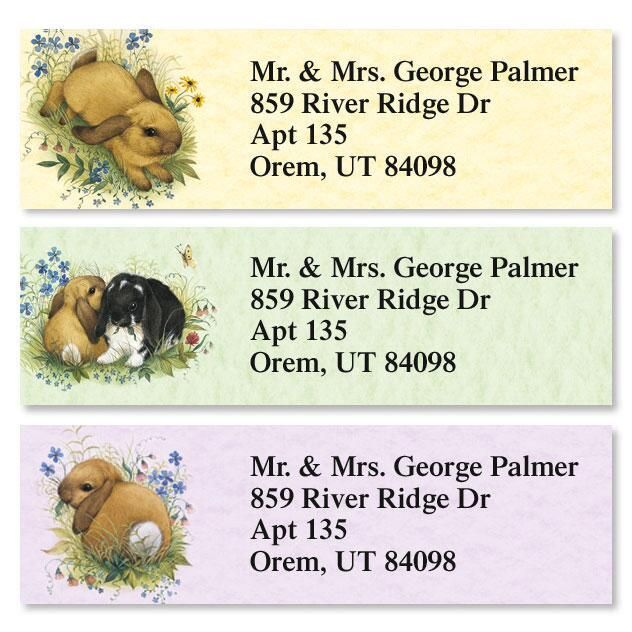 Lovely Bunny Classic Return Address Labels  (3 Designs)