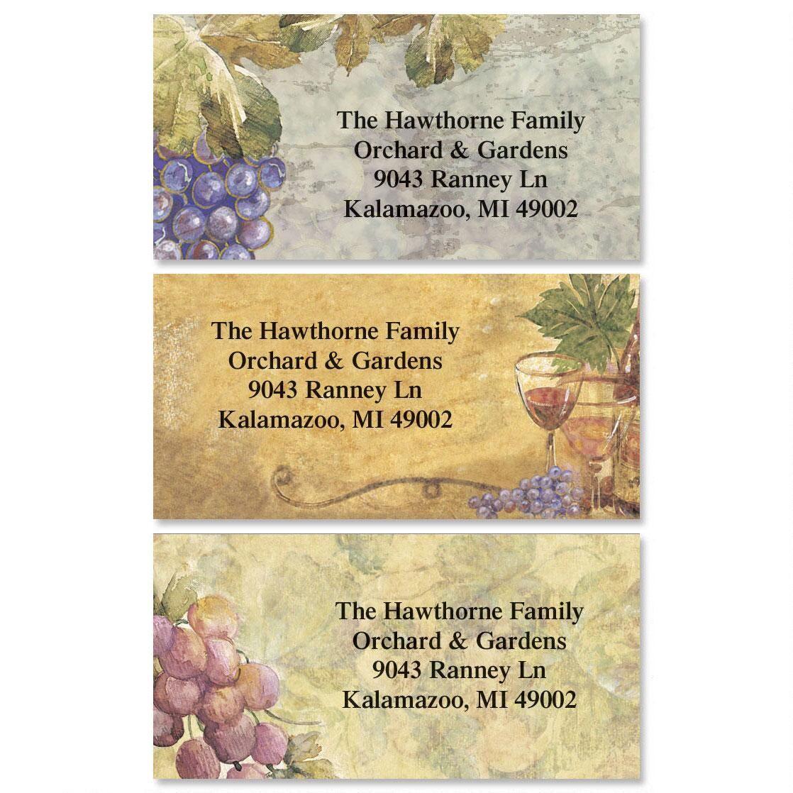 Grand Vineyard Border Return Address Labels (3 Designs)