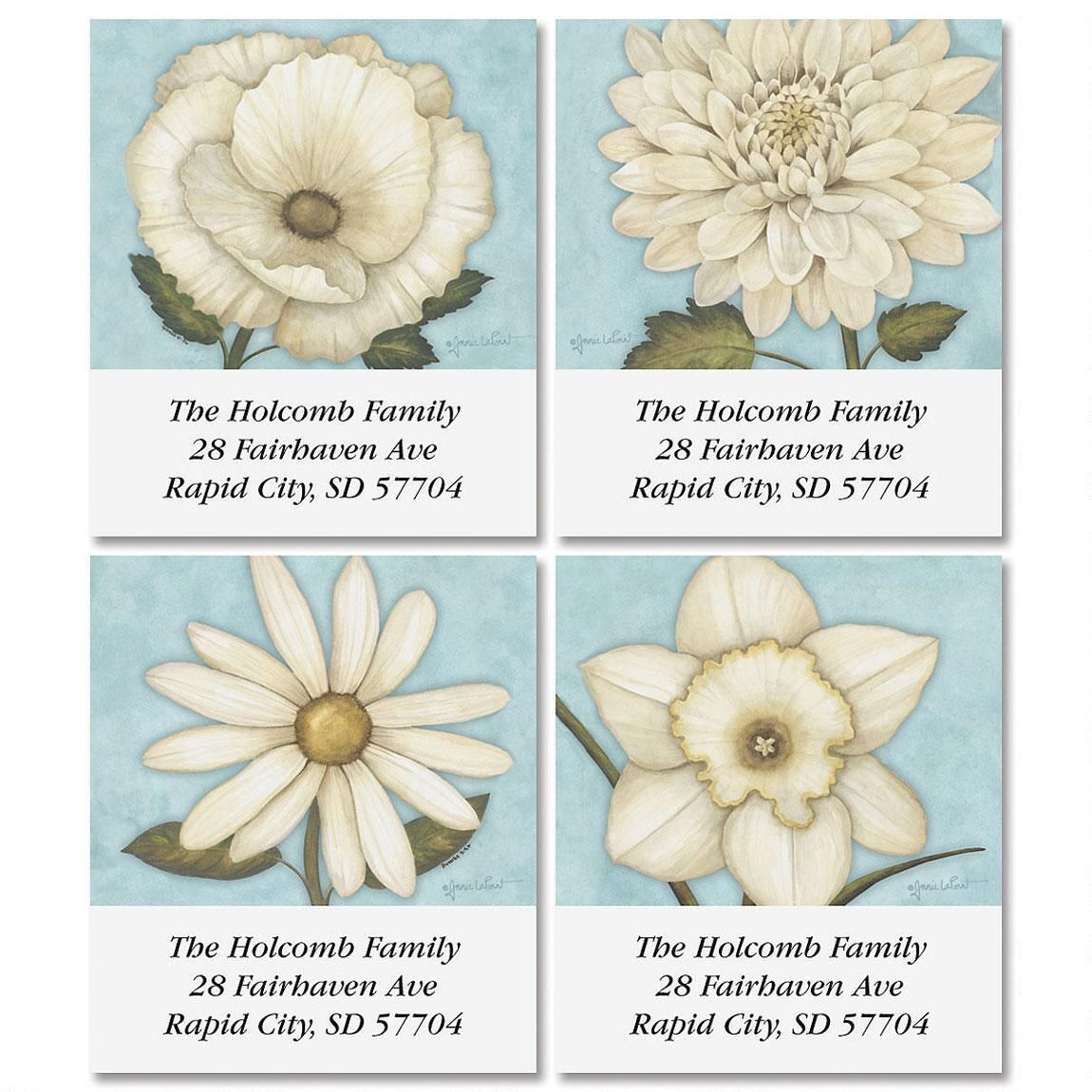 White Petals Select Address Labels  (4 Designs)