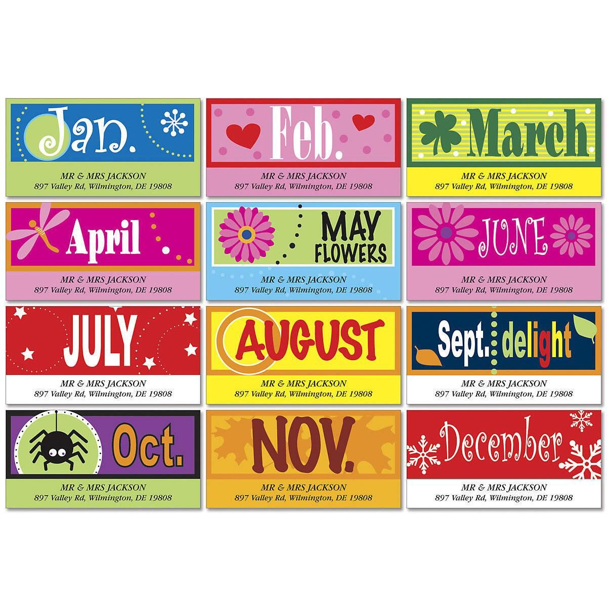 A Fun Year Deluxe Return Address Labels  (12 Designs)