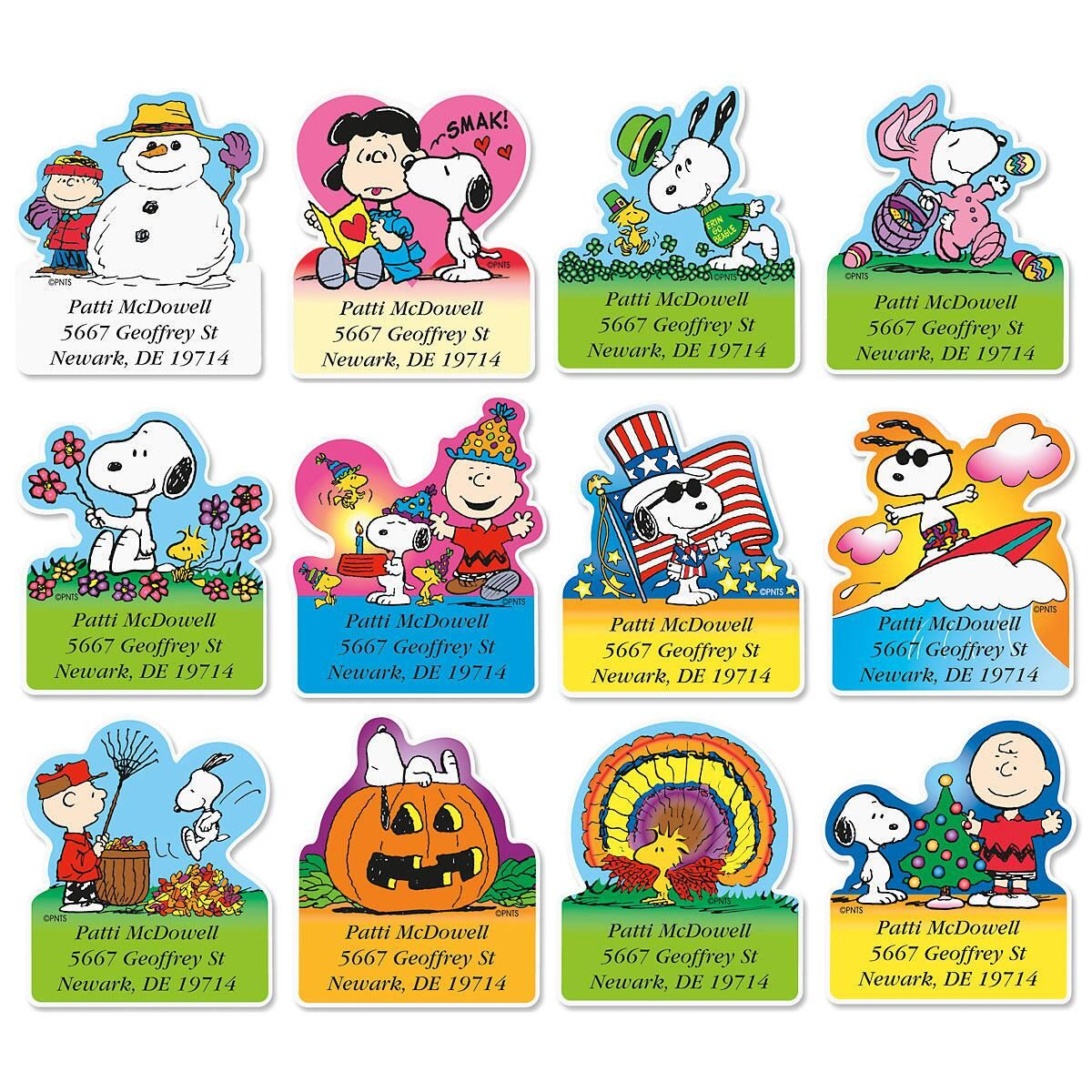 PEANUTS® Year Round Diecut Address Labels  (12 Designs)