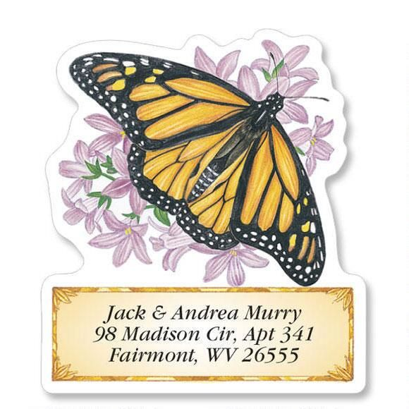 Brilliant Butterflies Diecut Return Address Labels  (6 Designs)