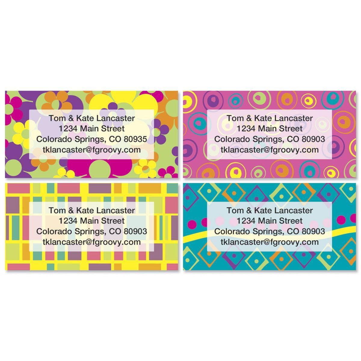 Feeling Groovy Border Return Address Labels  (4 Designs)