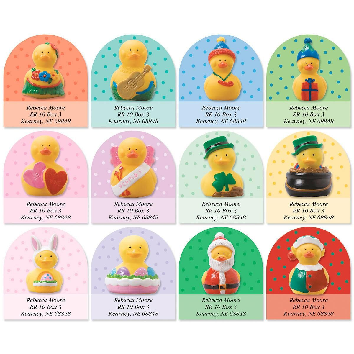 Rubber Duckies Year-Round Diecut Return Address Labels  (12 Designs)