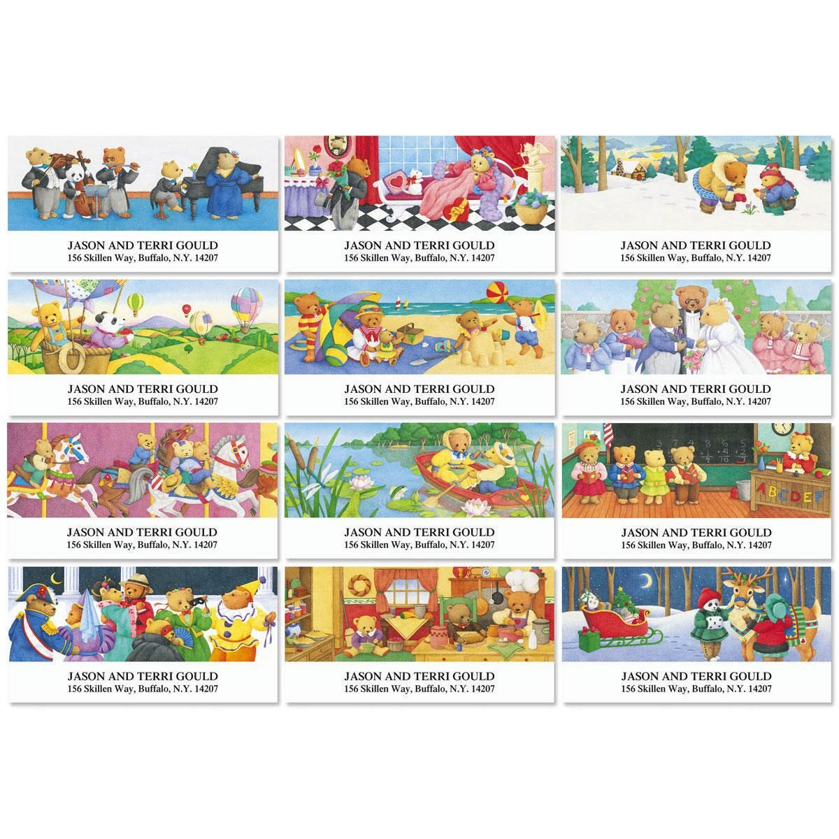 Bear Days Year-Round Deluxe Return Address Labels  (12 Designs)