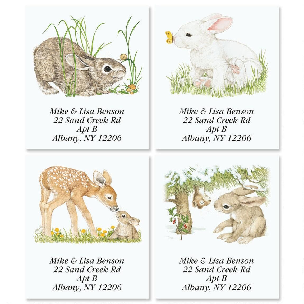 Bunny Spring by Linda K. Powell Select Return Address Labels  (4 Designs)