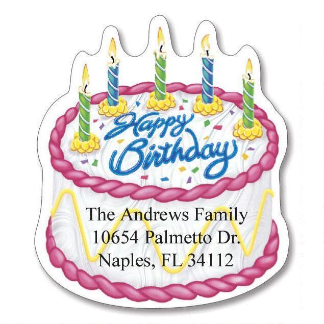 Birthday Diecut Return Address Labels  (6 Designs)