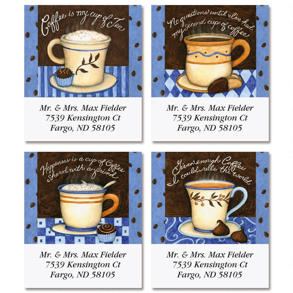 Coffee Smarts Select Return Address Labels  (4 Designs)