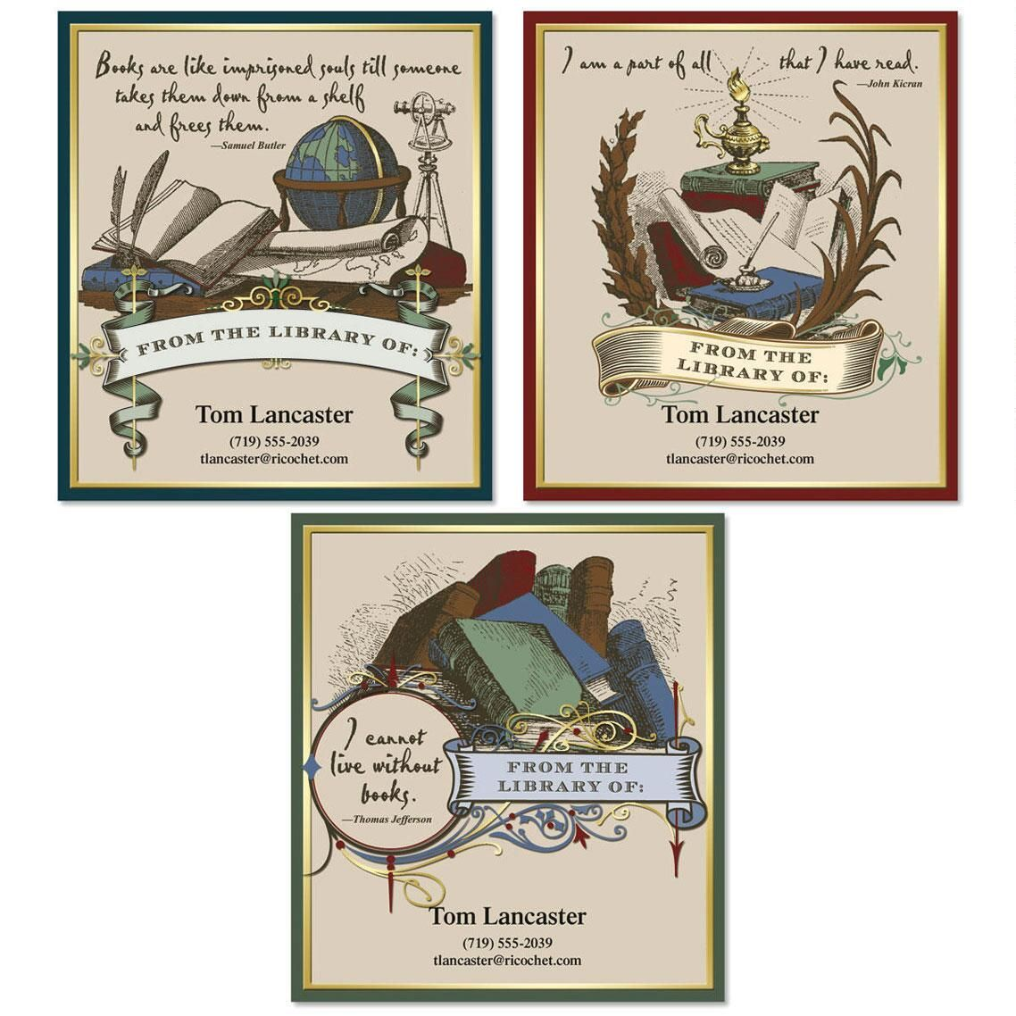 Antiquarian Bookplates  (3 Designs)