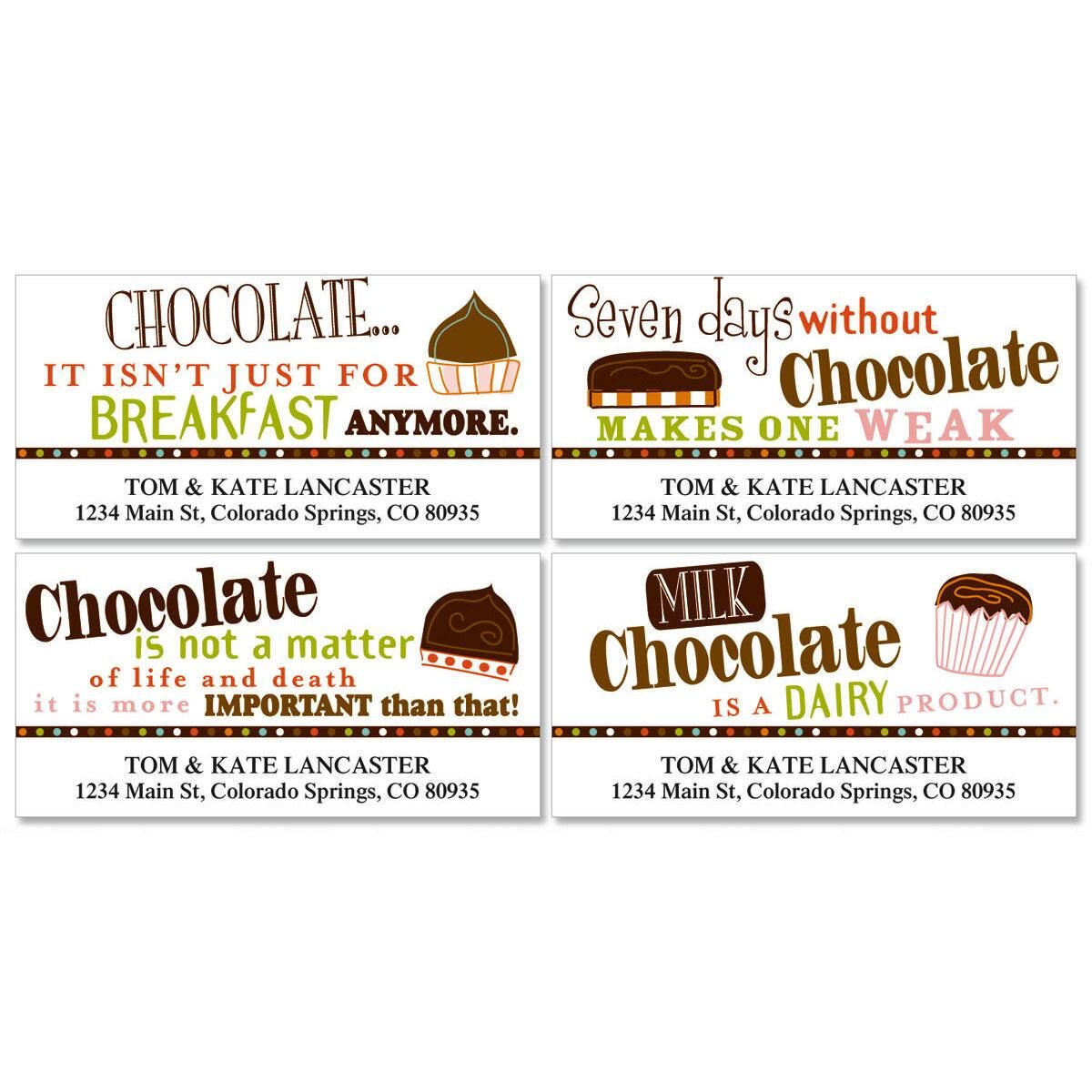Chocolate Deluxe Address Labels  (4 Designs)