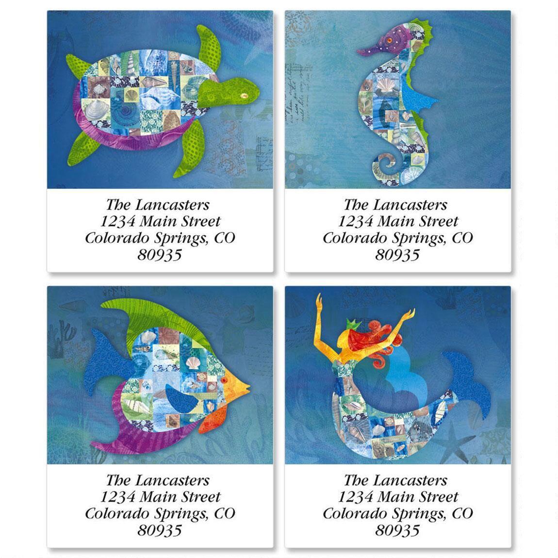 Patchwork Undersea  Select Address Labels   (4 Designs)