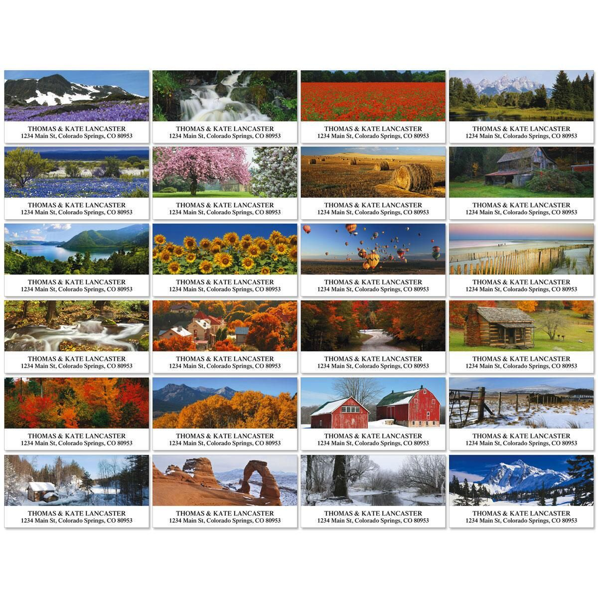Seasons Across America  Deluxe Return Address Labels  (24 Designs)