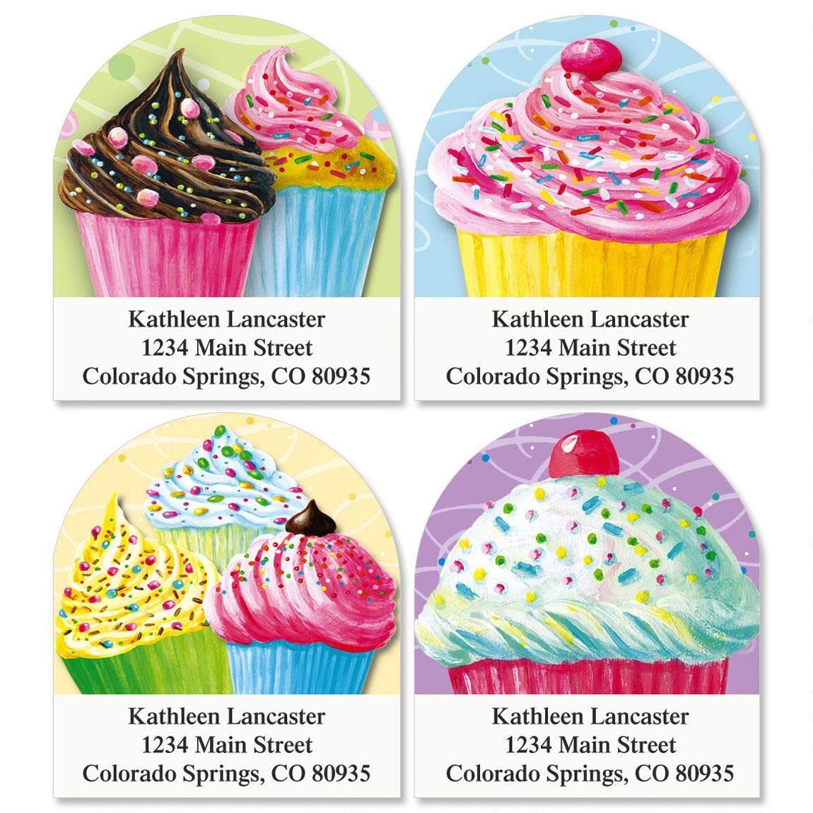 Cupcakes Diecut Address Labels  (4 Designs)