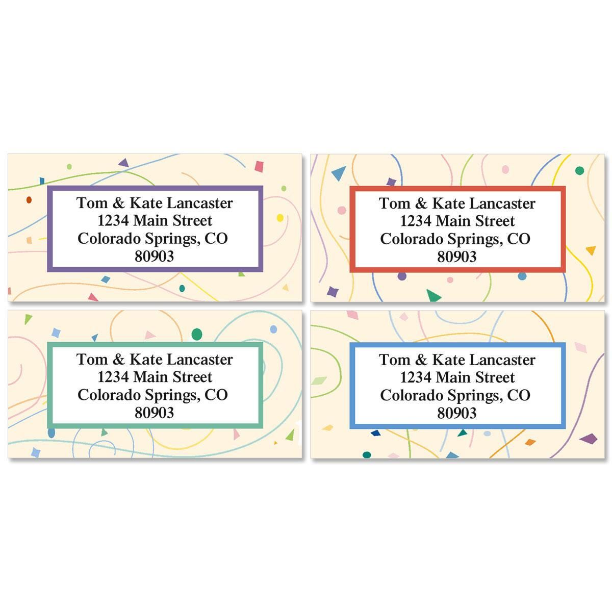 Confetti Border Return Address Labels  (4 Designs)